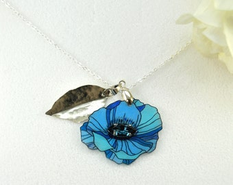 Anemone necklace blue flower - Light Blue Floral Pendant with Swarovski Silver Leaf Pendant   Necklace Nature Inspired - Botanical Jewelry
