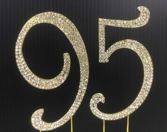 Rhinestone Gold  NUMBER (95) Cake Topper 95th  Birthday Parties FREE SHIPPING