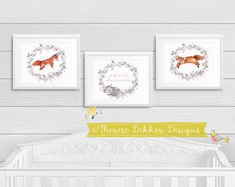 Woodland Nursery Wall Art Prints, Woodland Animals, Woodland Nursery Set, Red Fox, Orange Fox, Grey Fox, Sweet Dreams Print, Gender Neutral