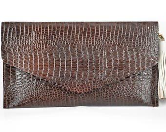 handmade brown cow leather alligator printed envelope style clutch handbag with side tassel