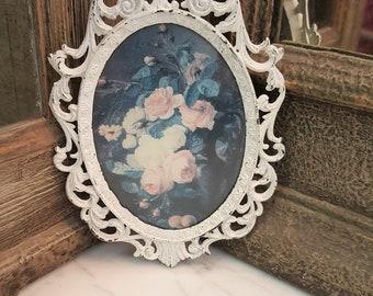 Small Vintage White Enamel Picture Frame