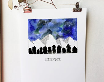 Let's Explore Blue Starry Night Sky Watercolor