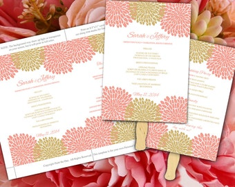 Wedding Fan Template - Bouquet Bloom Ceremony Program Coral Pink Gold Chrysanthemum Microsoft Word Template Outdoor Wedding Program Favor