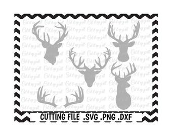Deer Head, Deer Antler Cutting File, Svg, Png, Dxf, Cut Files For Silhouette Cameo/ Cricut, Svg Download.