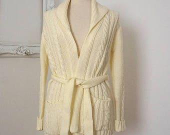 Vintage Ivory White Fisherman Knit Women Cardigan Sz M