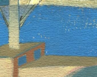 Port. Gouache, aquarelle et encre de chine sur papier Velin d'Arches grain torchon, collage