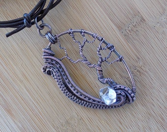 Tree of Life Pendant Swirling Wire Weave Diamond Quartz Oxidized Copper Wire Wrapped Jewelry Handmade Renaissance Amulet Unique Antiqued