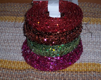Glittered  tube bead and sequin craft garland,trim,5-6ft,5/8 inch wide,ass't colors,fushia,green,brown,red,plastic ,glittered,Christmas