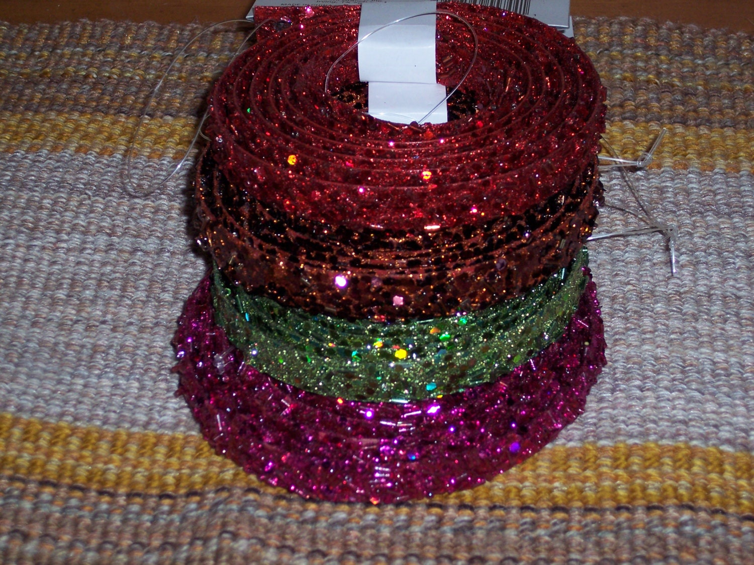 glittered tube bead and sequin craft garland,trim,5-6ft,5/8 inch