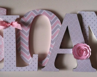 Wooden letters for nursery in pink and gray child's name letters initial monogram