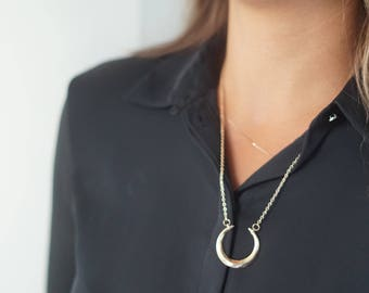 Layered Necklace, Delicate Gold Necklace, Bohemian Jewelry, Crescent Moon Necklace, Gift for Mom , Pendant Necklace, Gold Minimalist Jewelry