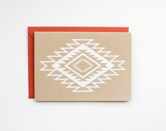 DISCONTINUED - Geometric Native Pattern - Blank Card - Thank You - stationery - screen printed - kraft - boho - modern - white on kraft