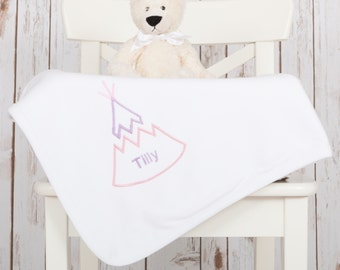 Personalised Baby Blanket | Monogram Blanket | Embroidered Teepee Blanket | New Baby Gift