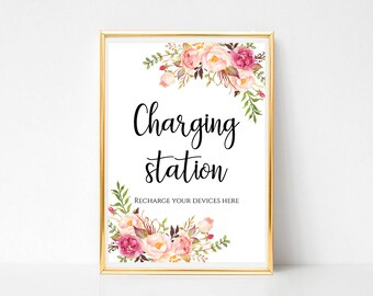 Charging Station Sign Floral Recharge Bar Signage Wedding Reception Decor 4x6 5x7 8x10 Signs Instant Download PDF JPEG