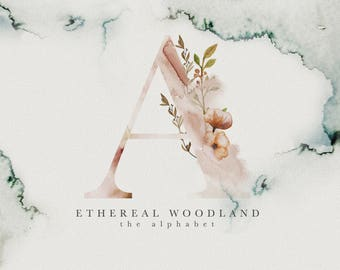 Woodland Alphabet - Watercolor Alphabet - Watercolor Letters - Rustic Clipart - Rustic Florals - Rustic Watercolor - Logo Design
