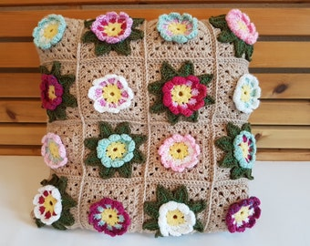 Handmade Crochet Waterflower Granny Squares Cushion Cover 45cm x 45cm