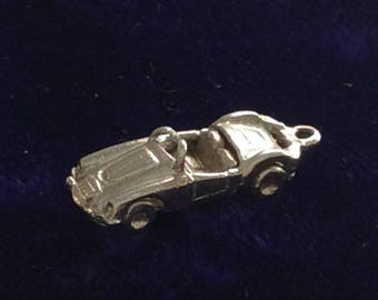 Sterling silver sports racing car convertible charm vintage # 196s