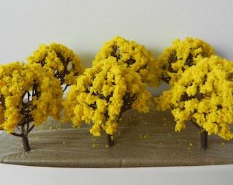6 x Yellow Blossom Model TREES 8 cm ~ Scenery for H0 / 00 Scale, MODEL TRAIN Accessory, Brand New