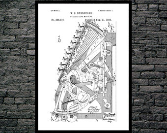 First Calculator Patent, First Calculator Poster, First Calculator Print, First Calculator Art, First Calculator Decor, Math