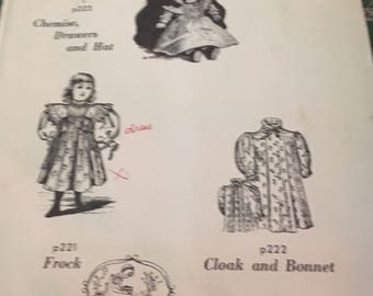 Victorian style doll dress and bonnet and cloak