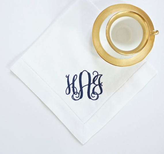 Braided Monogram Embroidered Dinner Napkins, Guest Hand Towels, Table Linens - Wedding Keepsake for Special Occasions