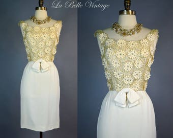 Ivory Applique Sequin Dress S Vintage 60s Rhinestone Wiggle ~ Lee Claire