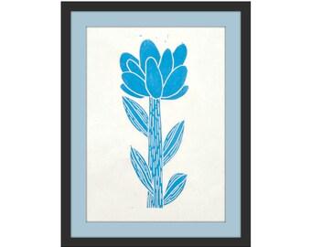 small linocut - FLOWER // 5x7 art print // printmaking // block print // nature art // wildflower // original art // miniature // blue