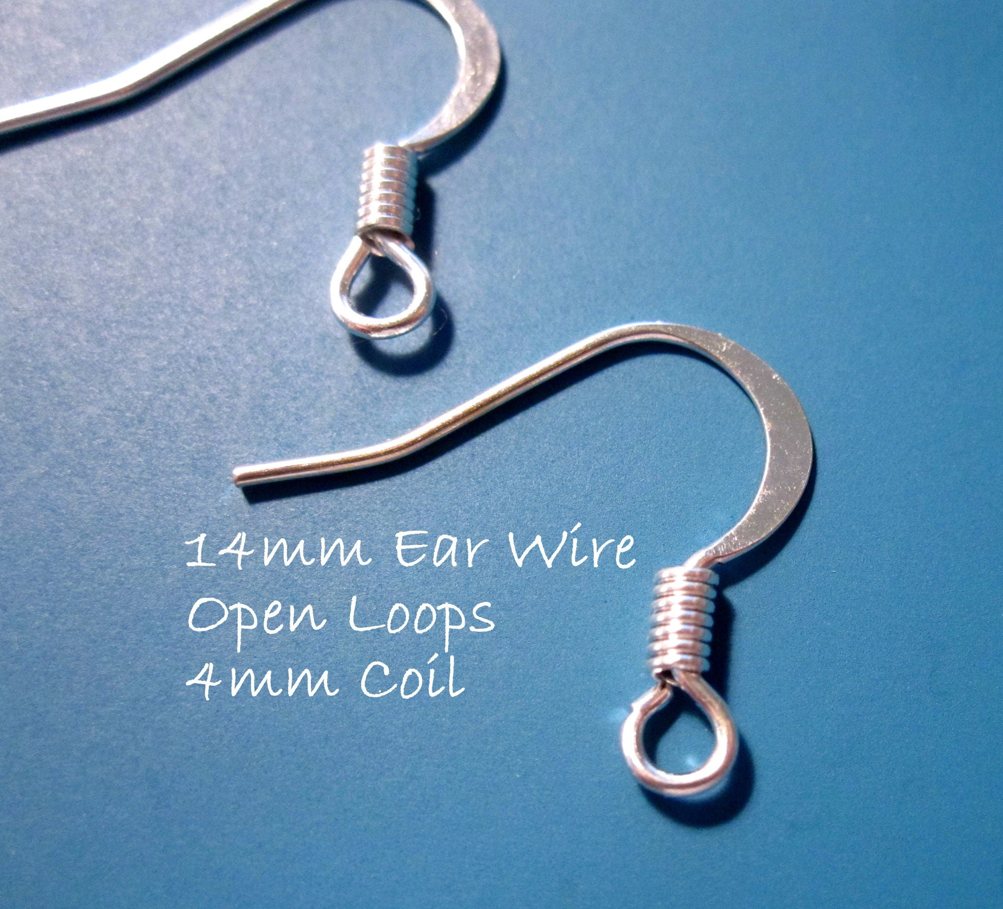 Earwires 30pcs Ear wires Silver-plated 14mm Flat Fishhook with 4mm ...