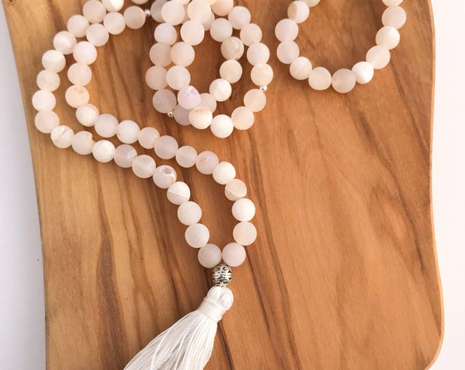 cream white matte druzy agate mala 108 traditional mala beaded prayer necklace with silk tassel, mala necklace, tassel necklace, matte beads