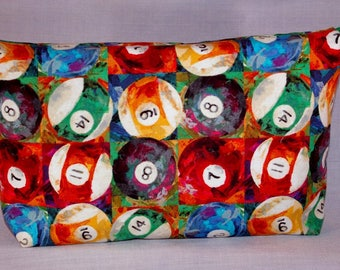 Pool Balls Zippered Pouch