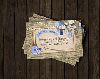 Boy Baby Shower Diaper Raffle Ticket Rustic Burlap Mason Jar Tree Branch Navy Blue Brown Wood Fairy Lights Printable Instant Download