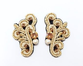 Brown Wing Embroidered Stud Earrings