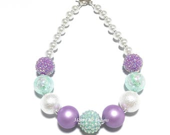 Toddler or Girls Purple, Mint and White Chunky Necklace - Mint Green Chunky Necklace - Pastel Necklace - Mermaid Purple Necklace - Easter
