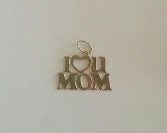 14kt Yellow Gold I Love You Mom Pendant Charm