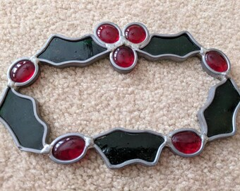 Vintage Stained Glass Holly Wreath