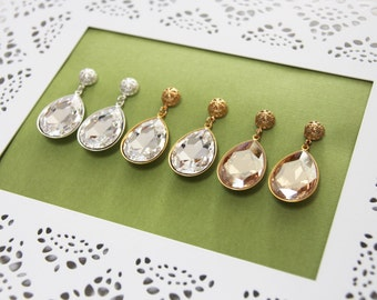 Gold rhinestone bridal earrings, gold dangle earrings, teardrop earring, Old Hollywood glamour, wedding dangle earring. CAMERON.