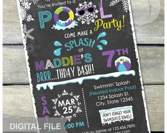 "Purple Winter Pool Birthday Party Chalkboard Invitation Snow Indoor Pool Party - DIGITAL Printable Invite - 5"" x 7"""