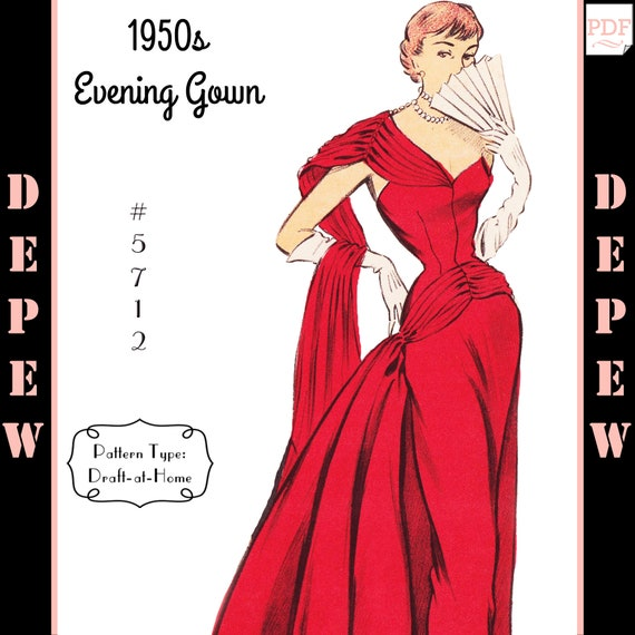 Vintage Sewing Pattern 1950s Evening Ball Gown in Any Size - PLUS ...