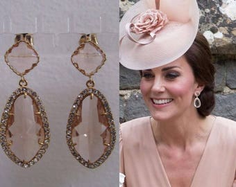 Kate Middleton Duchess of Cambridge Inspired Replikate Yellow Gold Chandelier Pear Drop Peach Morganite Halo Crystal Earrings