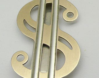 Vintage Sterling Silver with Gold Plating DOLLAR SIGN Money Clip