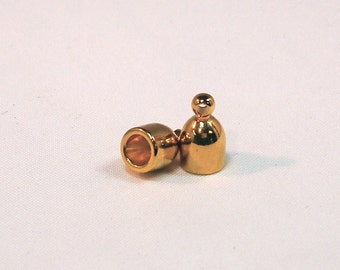 4mm Gold Plated Bullet End Caps - 1 pair