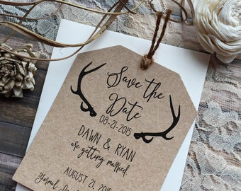 Rustic Save the Date, Antler Save the Date, Country Save the Date, Shabby Chic Save the Date, Wedding Save the Date, Deer Save the Date