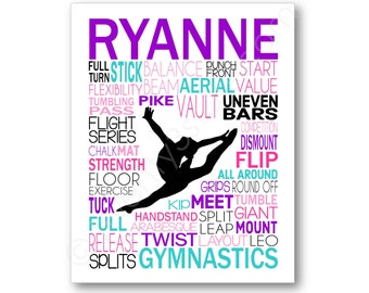 Gymnastics Typography Poster, Gymnast Gift, Gymnastics Art, Gymnastics Gift, Gym Team Gift, Gym Coach Gift, Personalized Gymnastics Gift