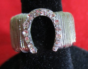 Horseshoe Ring, Vintage Silver & rhinestone expandable, Size 5 1/2, Equestrian Lover, Lucky horseshoe,  Estate Sale Item, R125