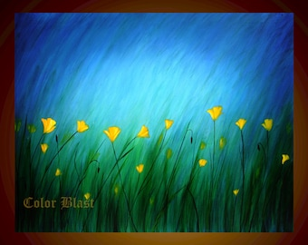 Yellow Poppies- Abstract Landscape Floral Art Print- Free Shipping inside US.