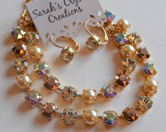 Pearl and Rose Gold Swarovski Crystal Bracelet