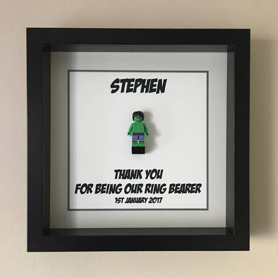 Ring Bearer Minifigure Frame, Mum, Gift, Geek, Box Frame, Framed,Idea, Wedding, For Him, Superhero, Hero, Pageboy, Frames