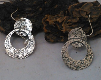 Hammered Sterling Silver Dangle Earrings With Fresh Water Pearls