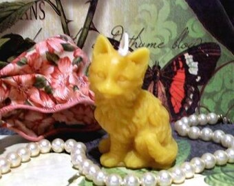 3 Beeswax Kitty Cat Candles