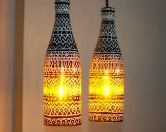 Lámpara botella, lámpara hecha a mano, lámpara reciclada, lámpara vintage, lámpara de vidrio